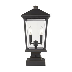 Z-Lite Beacon 2 Light Outdoor Pier Mountable Fixture - 9.5-in x 22-in - Rubbed Bronze/Clear Glass