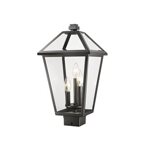 Z-Lite Talbot 3 Light Outdoor Post Mountable Fixture - 10-in x 19-in - Black/Clear Glass