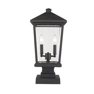 Z-Lite Beacon 2 Light Outdoor Pier Mountable Fixture - 9.5-in x 22-in - Black/Clear Glass