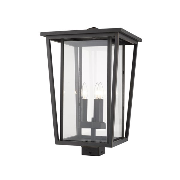 Z-Lite Seoul 3 Light Outdoor Post Mountable Fixture - 14-in x 22.25-in - Rubbed Bronze/Clear Glass