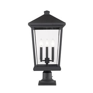 Z-Lite Beacon 3 Light Outdoor Pier Mountable Fixture - 12-in x 25.5-in - Black/Clear Glass
