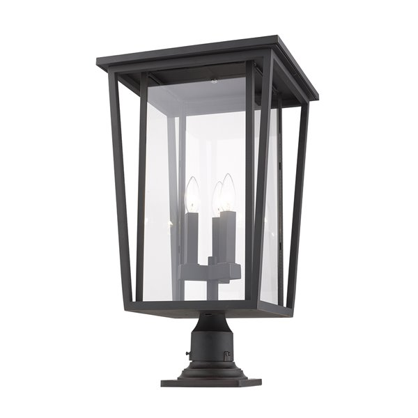 Z-Lite Seoul 3 Light Outdoor Pier Mountable Fixture - 14-in x 25.75-in - Rubbed Bronze/Clear Glass