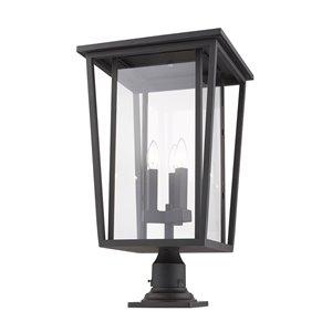 Luminaire d'extérieur montable sur colonne Séoul de Z-Lite à 3 ampoules, 14 po x 25,75 po, bronze frotté/verre clair