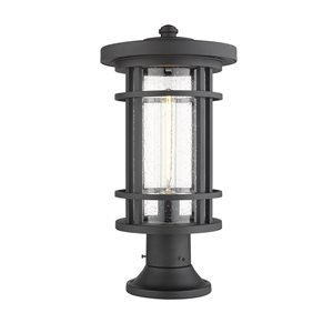 Z-Lite Jordan 1 Light Outdoor Post Mountable Fixture - Round Base - 10-in x 19.75-in - Black/Seedy Glass