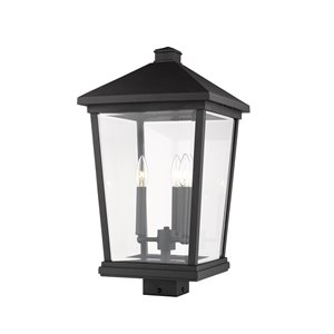 Z-Lite Beacon 3 Light Outdoor Post Mountable Fixture - 12-in x 22.25-in - Black/Clear Glass