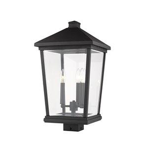 Luminaire d'extérieur montable sur poteau Beacon de Z-Lite à 3 ampoules, 12 po x 22,25 po, noir/verre clair
