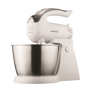Brentwood 5-Speed + Turbo Stand Mixer - Stainless Steel Bowl - White