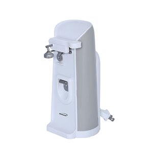 Brentwood Tall Electric Can Opener with Knife Sharpener & Bottle Opener - White