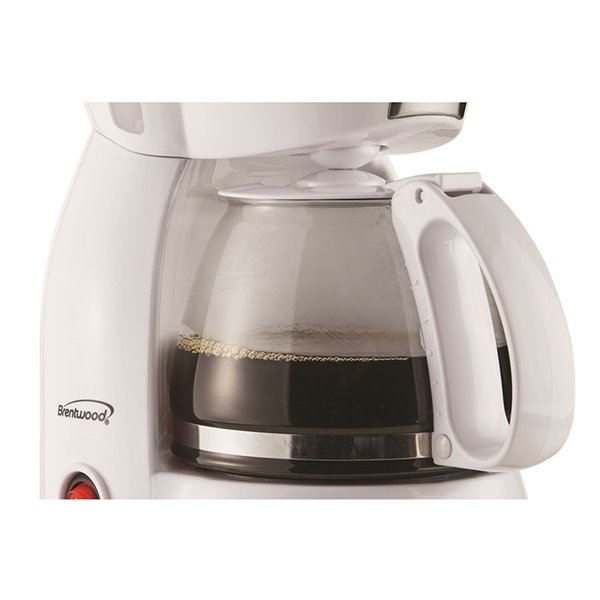Brentwood 4 Cup Coffee Maker - Warming plate and reusable filter - White