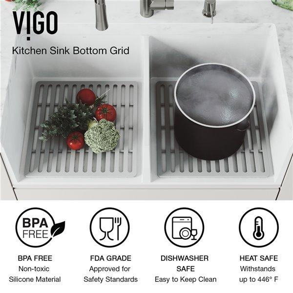 VIGO Farmhouse Kitchen Sink in Matte White with Drain - 36-in