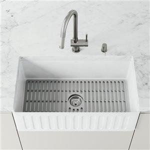 Évier de cuisine VIGO Farmhouse en blanc mat avec drain, 33 po