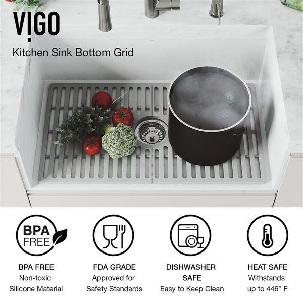 Évier de cuisine VIGO Farmhouse en blanc mat avec drain, 30 po