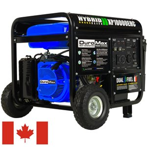 DuroMax Electric Start Dual Fuel Hybrid Portable Generator - 18 HP Engine - 10,000 Watts