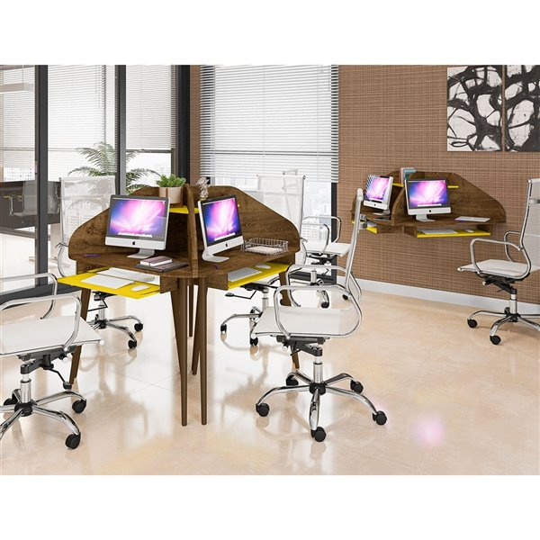 Manhattan Comfort Bradley Round Cubicle Desk - 62.62-in - Rustic Brown/Yellow - 4-Piece