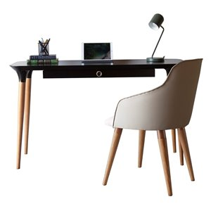 Manhattan Comfort HomeDock and Martha Office Desk with Chair - 53.14-in - Black and Beige - 2-Piece