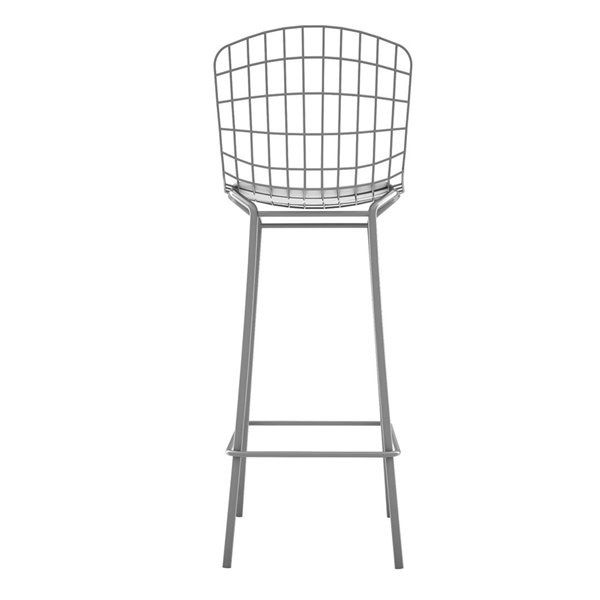 Manhattan Comfort Madeline Barstool - 27.95-in - Charcoal Grey and White