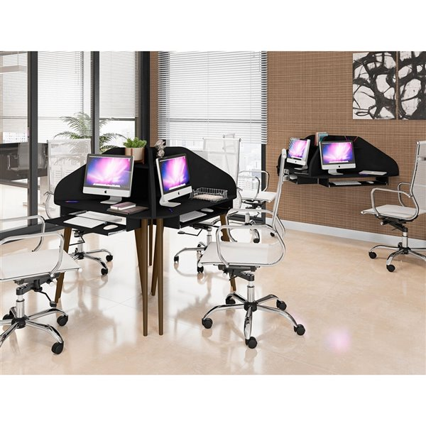 Manhattan Comfort Bradley Round Cubicle Desk - 62.62-in - Black - 4-Piece