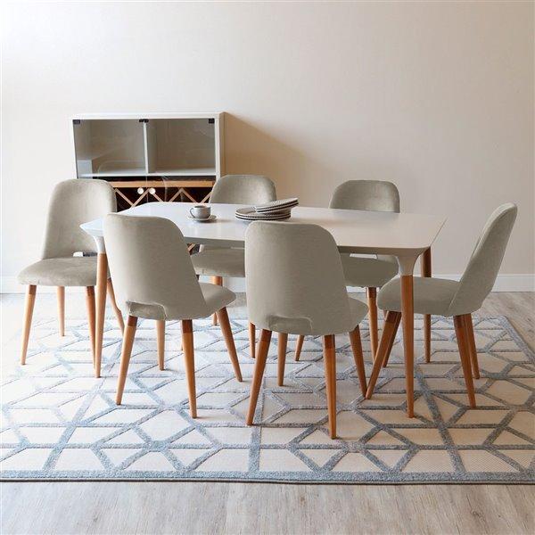 Manhattan Comfort HomeDock and Selina Dining Set - Off-White/Beige - 7-Piece