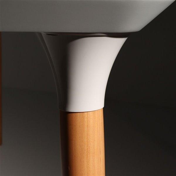Manhattan Comfort HomeDock and Selina Dining Set - Off-White/Black - 7-Piece