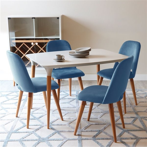Manhattan Comfort HomeDock and Selina Dining Set - Off-White/Blue - 5-Piece
