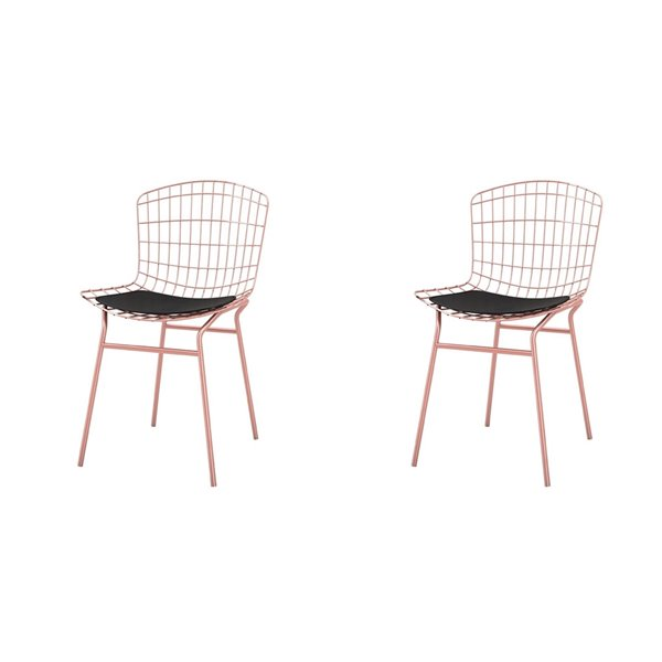 Manhattan Comfort Madeline Dining Chair - 31.89-in - Rose Gold and Black - Set of 2