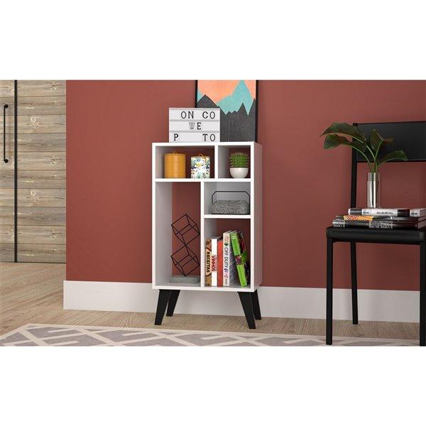 Manhattan Comfort Warren Low Bookcase - 18.7-in x 33.46-in - White and Black