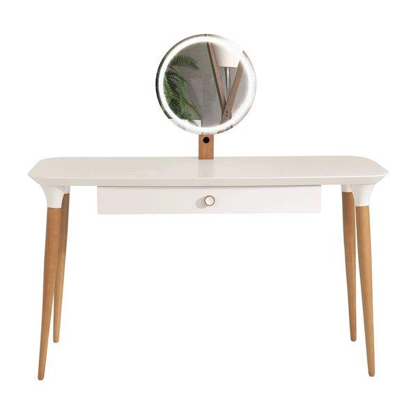 Manhattan Comfort HomeDock Makeup Vanity Table - Off-White and Cinnamon Brown