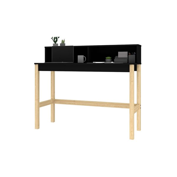 Manhattan Comfort Bowery Desk - 47.24-in - Black and Oak