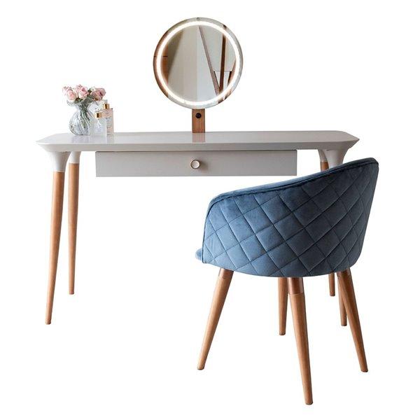 Manhattan Comfort HomeDock Makeup Vanity Table with Kari Chair - Off-White/Blue - Set of 2