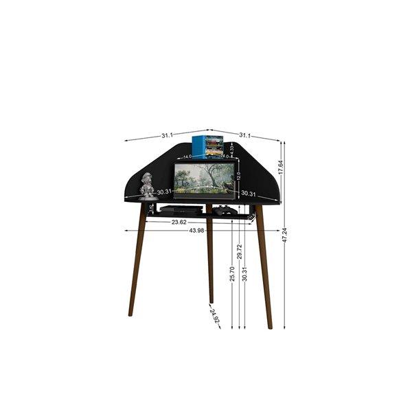 Manhattan Comfort Bradley Floating Corner Desk - 43.98-in - Black