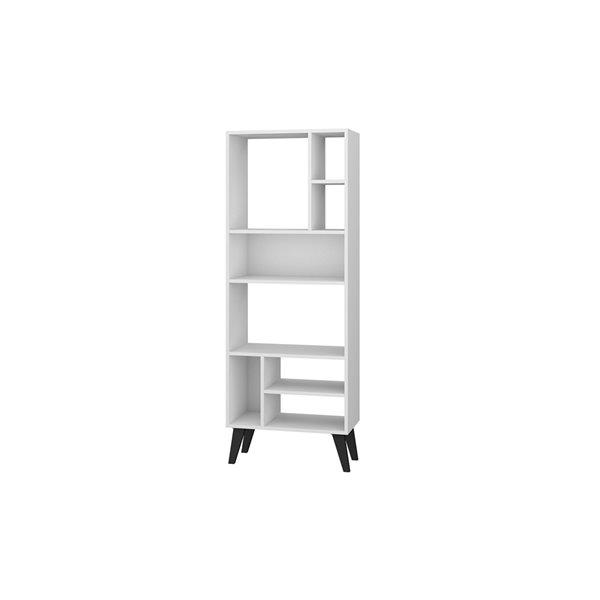 Manhattan Comfort Warren Bookcase - 22.24-in x 60.03-in - White and Black