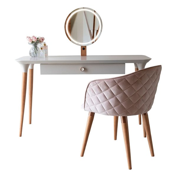 Manhattan Comfort HomeDock Makeup Vanity Table with Kari Chair - Off-White/Pink - Set of 2