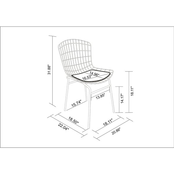 Manhattan Comfort Madeline Dining Chair - 31.89-in - Silver and Black