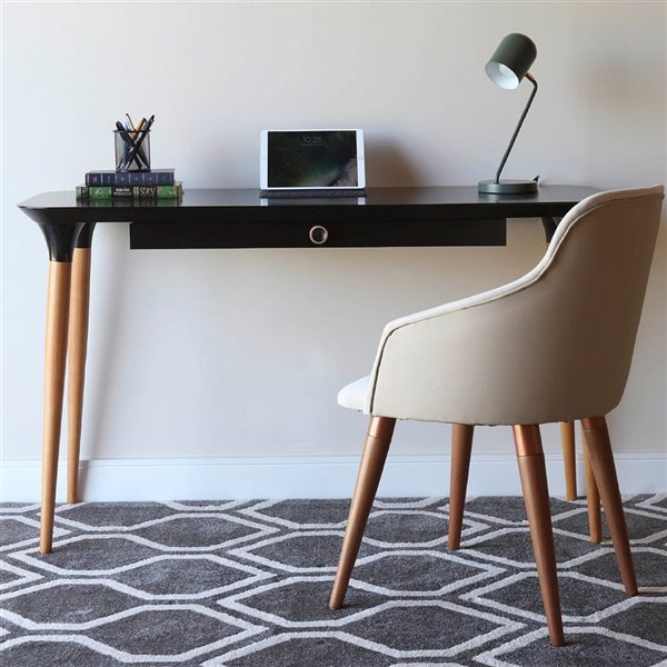 Manhattan Comfort HomeDock Office Desk - 53.14-in - Black and Cinnamon Brown
