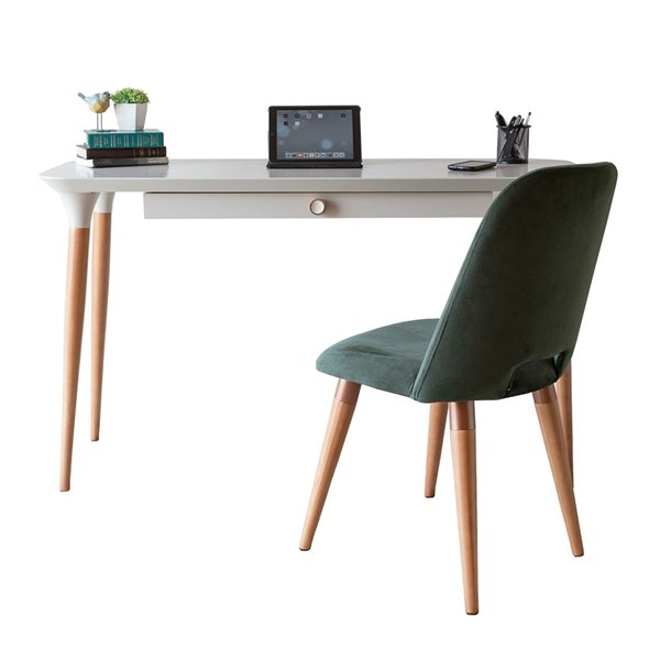 Manhattan Comfort HomeDock and Selina Office Desk with Chair - 53.14-in - Off-White and Green - 2-Piece