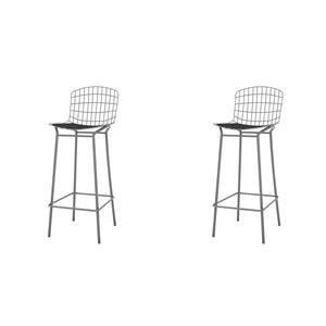 Manhattan Comfort Madeline Barstool - 27.95-in - Charcoal Grey and Black - Set of 2