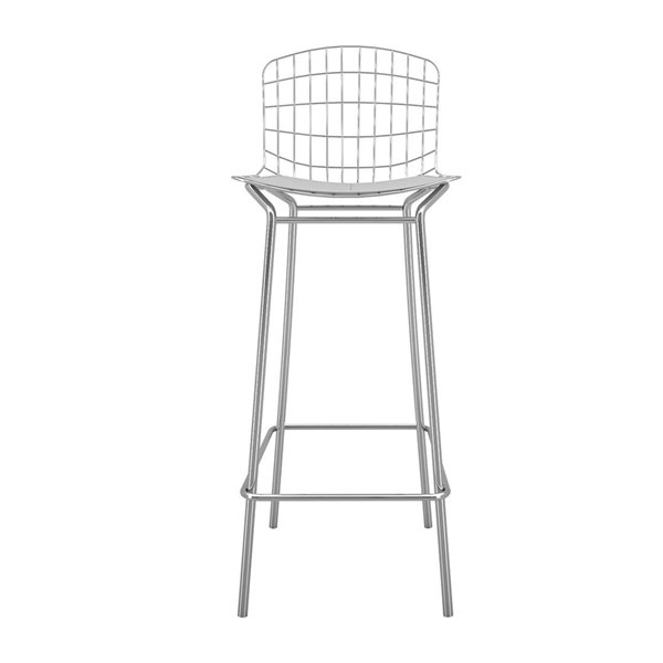 Manhattan Comfort Madeline Barstool - 27.95-in - Silver and White - Set of 2