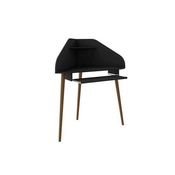 Manhattan Comfort Bradley Cubicle Section Desk - 62.62-in - Black - 2-Piece