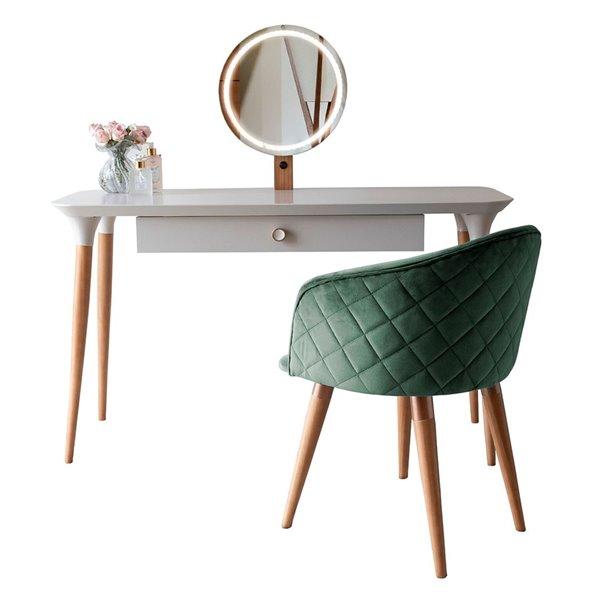 Manhattan Comfort HomeDock Makeup Vanity Table with Kari Chair - Off-White/Green - Set of 2