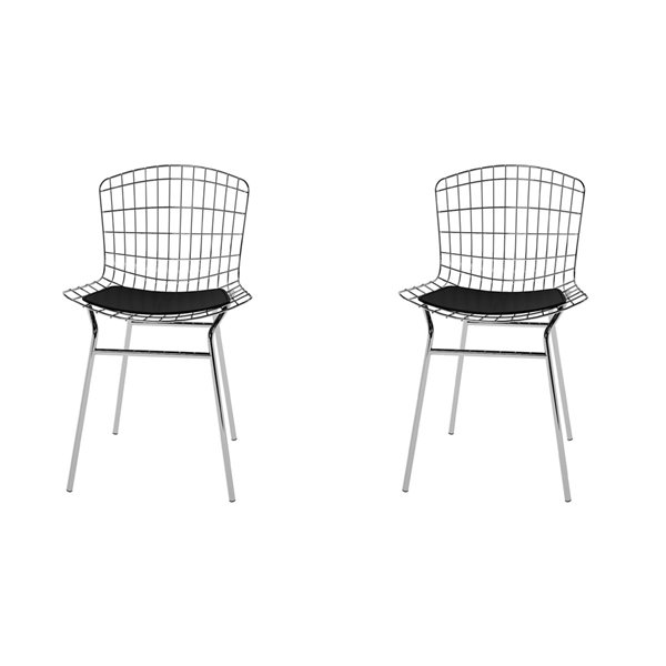 Manhattan Comfort Madeline Dining Chair - 31.89-in - Silver and Black - Set of 2