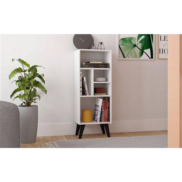 Manhattan Comfort Warren Bookcase - 16.14-in x 42.32-in - White and Black
