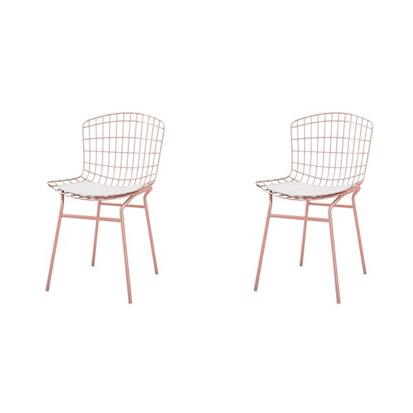 Manhattan Comfort Madeline Dining Chair - 31.89-in - Rose Gold and White - Set of 2