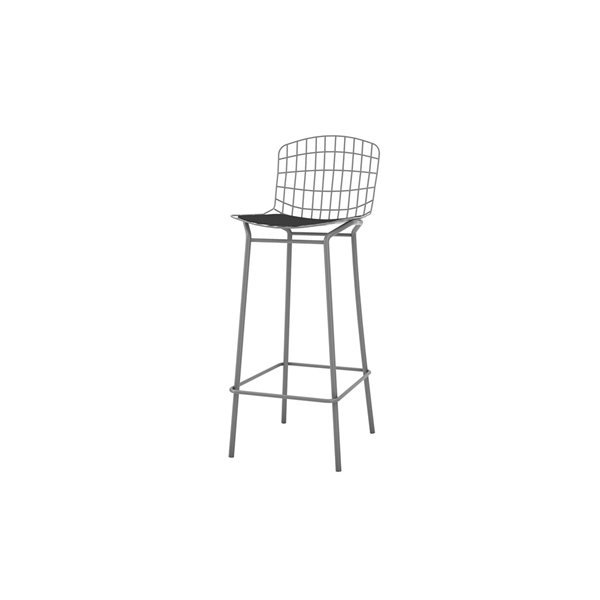Manhattan Comfort Madeline Barstool - 27.95-in - Charcoal Grey and Black