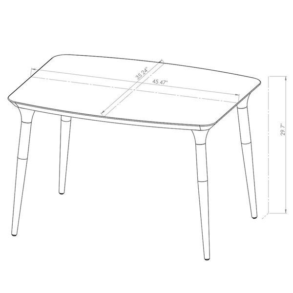 Manhattan Comfort HomeDock and Selina Dining Set - Off-White/Black - 5-Piece