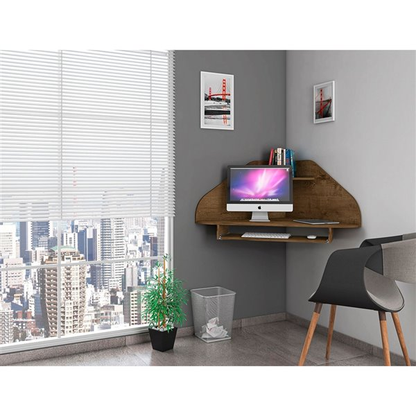 Manhattan Comfort Bradley Floating Corner Desk - 43.98-in - Rustic Brown