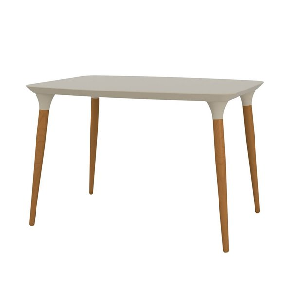 Manhattan Comfort HomeDock Dining Table - 45.47-in - Off-White and Cinnamon Brown