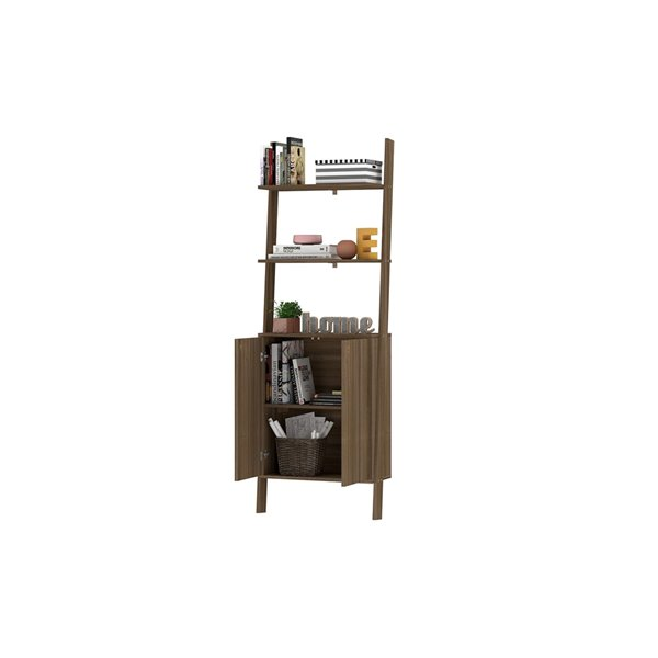 Manhattan Comfort Cooper Ladder Display Cabinet - 24.8-in x 72.04-in - Oak
