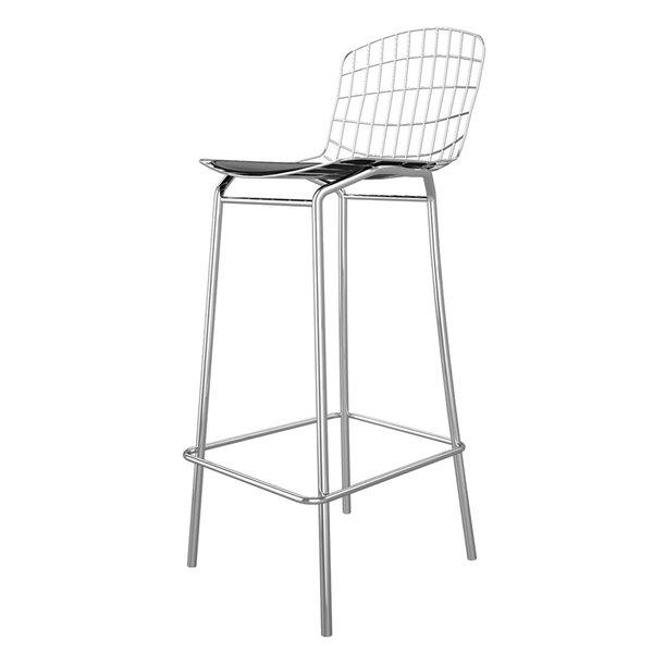 Manhattan Comfort Madeline Barstool - 27.95-in - Silver and Black - Set of 2