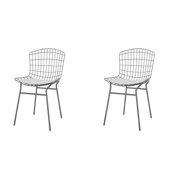 Manhattan Comfort Madeline Dining Chair - 31.89-in - Charcoal Grey and White - Set of 2