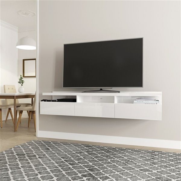 Manhattan Comfort Cabrini Floatting Entertainment Center - 71.25-in x 14.96-in - Glossy White